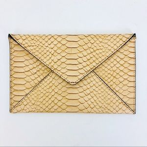 Loeffler Randall Leather Envelope Clutch Python